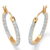 PalmBeach Jewelry 45813 Round Diamond 18k Yellow Gold Over Sterling Silver Inside-Out Hoop Earrings