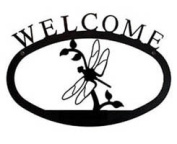 Village Wrought Iron WEL-71-S Dragonfly Welcome Sign Small - Black