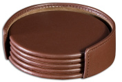 Dacasso A3445 Chocolate Brown Leather 4 Round Coaster Set