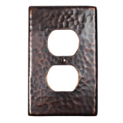 The Copper Factory Solid Hammered Copper Single Duplex Receptacle Plate in Antique Copper Finish - CF122AN