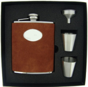 Visol VSET38-1107 Hunt Brown Leather 6oz Deluxe Flask Gift Set