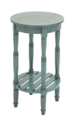 Woodland Import 96223 Wood Rd Side Table with Round Top Surface & Open Shelf Below