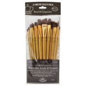 12 Pc Royal & Langnickel Brown Taklon Flat Brush Set