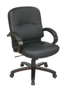 Office Star WD5381-EC3 Eco Leather Mid Back Chair with Espresso Finish Wood Base and Padded Arms- Black -EC3 Leather