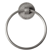 The Copper Factory Solid Copper Towel Ring with a Round Backplate in Satin Nickel Finish - CF134SN