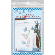 Jack Dempsey 417155 Stamped Pillowcases With White Lace Edge 2-Pkg-Birds