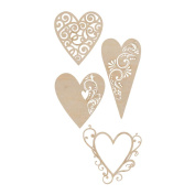 Kaisercraft 462079 Wood Flourishes 4-Pkg-Fancy Hearts