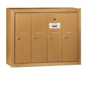 Salsbury Industries 3504BSU Vertical Mailbox - 4 Doors - Brass - Surface Mounted - USPS Access