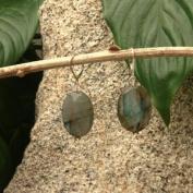 Betty Rocks BERLBD23425181LB Euro Lever Back 25 x 18mm Flat Oval Labordorite Earrings