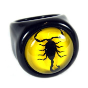 Ed Speldy East R0012-7 Black Scorpion Ring with Yellow Background - Size 7