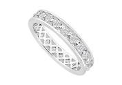 FineJewelryVault UBE490-2W14D-101 Diamond Eternity Band : 14K White Gold - 1.00 CT Diamonds - Size