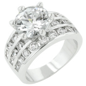 J Goodin R05629R-C01-08 White Gold Rhodium Bonded Classic Round CZ Engagement Ring Featuring 4 Row Channel Set Shoulders in Silvertone- Size 8