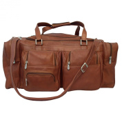 Piel Leather 9122 24In Duffel With Pockets - Saddle