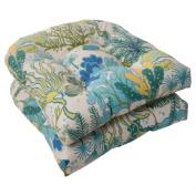 Pillow Perfect 496467 Outdoor Splish Splash Wicker Seat Cushion in Blue - Set of 2 - Cream-Green-Blue-Turquoise