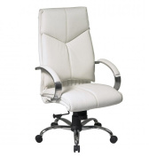 Office Star 7270 Deluxe High Back White Executive Leather Chair with Chrome Finish Base and Padded Polished Aluminum Arms- White-Metal