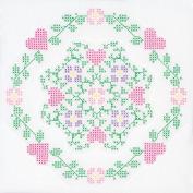 Jack Dempsey 487661 Stamped White Quilt Blocks 46cm . x 46cm . 6-Pkg-Hearts