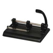 Master Products MAT1325B Heavy-Duty Hole Punch- 3 Hole- Adjust Centre- 40 Sht Cap- BK