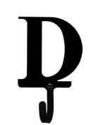 Village Wrought Iron WH-D-S Letter D Wall Hook Small