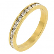 J Goodin R01147G-C02-09 14k Gold Bonded Stacker Ring with Round Cut Clear CZ in a Channel Setting in Goldtone- Size 9