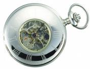 Charles-Hubert- Paris Stainless Steel Mechanical Hunter Case Pocket Watch #3565