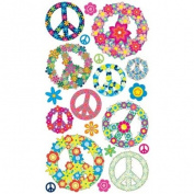 Sticko E5200720 Sticko 58 Stickers-Floral Peace Signs