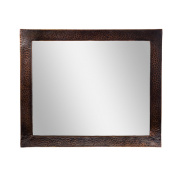 The Copper Factory Solid Hammered Copper Framed Rectangular Mirror in Antique Copper Finish - CF138AN