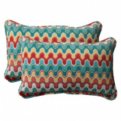 Pillow Perfect 505435 Outdoor Nivala Corded Rectangular Throw Pillow in Blue - Set of 2 - Red-Turquoise-Yellow-Aqua Blue