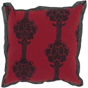 Surya P-0013 Machine Made 50% Jute / 50% Cotton Red 46cm x 46cm Decorative Pillow