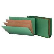 Smead 29785 Pressboard End Tab Classification Folders Legal 6-Section Green 10/bx