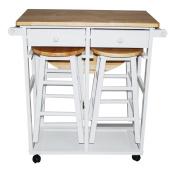 Yu Shan CO USA Ltd 355-21 Breakfast cart with drop-leaf table White