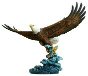 Unicorn Studios WU74876AA Eagle Catching Fish with Color Sculpture