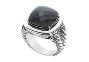 FineJewelryVault UBRT14W14BOX-101 Black Onyx Rope Ring : 14K White Gold - 10.00 CT TGW - Size