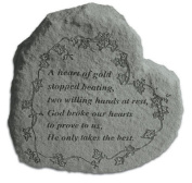 A Heart Of Gold Stopped Beating Heart Shaped Memorial Stone - Vine Engraving