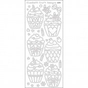 Elizabeth Craft Designs 124355 Cup Cakes Peel Off Stickers 10cm . x 23cm . Sheet-Black