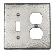 The Copper Factory Solid Hammered Copper Single Switch and Duplex Receptacle Combination Plate in Satin Nickel Finish - CF126SN