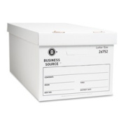 Business Source BSN26752 Storage Box- Lift Off Lid- Letter- 30cm .x60cm .x25cm .- 12-CT- White