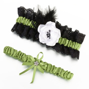 Lillian Rose LG752 Garter Set - Green and Black