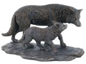Unicorn Studios WU74854A4 Wolf and Baby Wolf Walking Bronze Sculpture