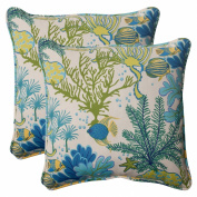 Pillow Perfect 496382 Outdoor Splish Splash Corded 18.5-Inch Throw Pillow in Blue - Set of 2 - Cream-Green-Blue-Turquoise