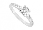 FineJewelryVault UBJS3034AW14D-101 Diamond Engagement Ring : 14K White Gold - 0.75 CT Diamonds - Size 7