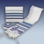 Rite Lite TLBO-24-B Blue Bnei Ohr Wool Talit Kipa and Bag - 24 in.