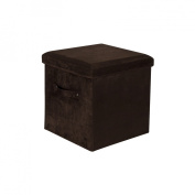 Yu Shan CO USA Ltd 112-63 Seat Pad Folding Storage Ottoman. Micro suede cover Brown