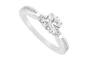 FineJewelryVault UBJS3065AW14D-101 Diamond Engagement Rings : 14K White Gold - 0.75 CT Diamonds - Size 7