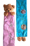 Little Dundi BPGC-13P Plush Bear Growth Chart with Name and Photo Sleeves - Pink