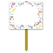 Blank Yard Sign (blank w/confetti & serpentine border) Party Accessory (1 count)