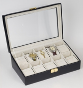 Budd Leather 500159-1 Leather Watch Box With Glass Top - Black