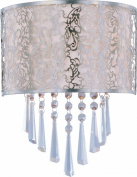 Maxim Lighting 22297WTSN Rapture Satin Nickel 2-Light Wall Sconce with White Fabric Shade