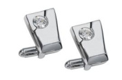 Visol VCUFF610 The Diamond Inlaid Crystal Chrome Plated Cufflinks