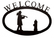 Village Wrought Iron WEL-15-L Large Fireman Welcome Sign
