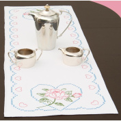 Jack Dempsey 487653 Stamped Table Runner-Scarf 38cm . x 110cm . -Rose& Hearts